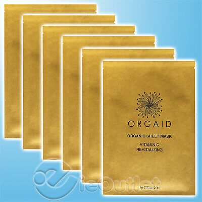 Brand New Orgaid Organic Vitamin C Revitalizing Facial Face Sheet Mask (6-Pack)