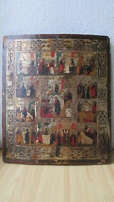 Ikone,Antique Russian Orthodox icon ,,Church Feasts,, from 19c.