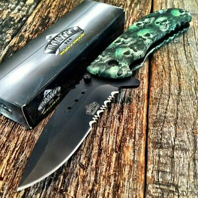 "MASTER BALLISTIC 8"" TACTICAL Spring Assisted Open Pocket Knife Green SKULL Camo"