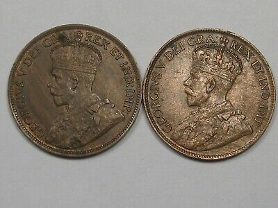 2 AU Canadian Large Cent Coins: 1917 & 1919. Full Crown. CANADA.  #19