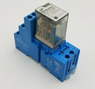 Finder 55.34.9.024.0000 Plug In Relay 24VDC 7A Terminal Base 94.04 10A Din Rail