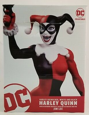 "DC Collectibles Harley Quinn Red White And Black 6.7"" Statue By Jim Lee ~OPENED~"
