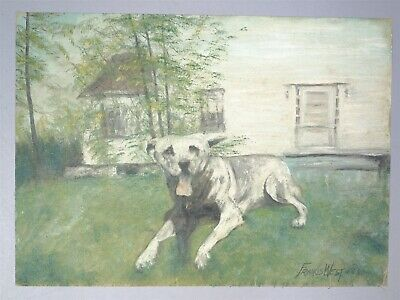 Vintage Francis West Oil Painting On Canvas Of Happy Dog In Yard