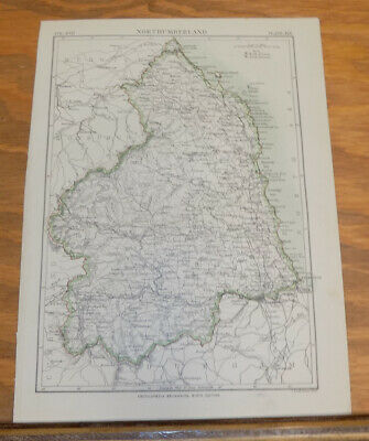 1885 Antique COLOR Map///NORTHUMBERLAND, ENGLAND