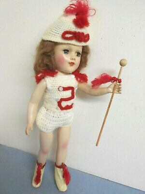 "Vintage 1950 Knit Majorette Outfit For 14"" Mary Hoyer Hard Plastic Doll 6 Pc"