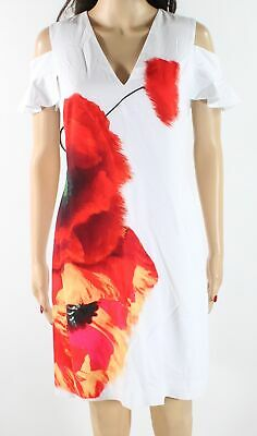 4f724c1519b9 Ted Baker NEW White Women s Size TB 1 US 4 Floral V-Neck Sheath Dress