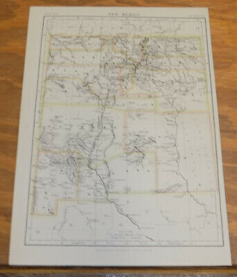1885 Antique COLOR Map///NEW MEXICO, UNITED STATES