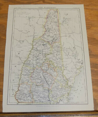 1885 Antique COLOR Map///NEW HAMPSHIRE, UNITED STATES
