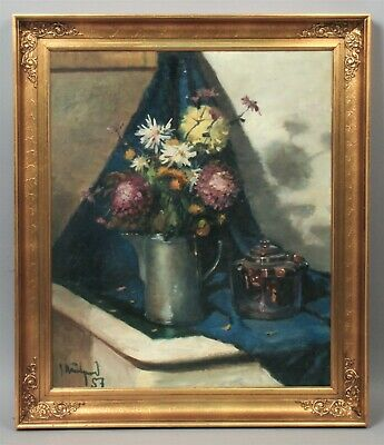 Fine Quality 1950s Signed Floral Bouquet Still Life Painting on Canvas