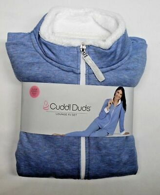 Cuddl Duds Frosted Fleece Zip-Up Robe Sherpa Trim Taupe L NEW A294824
