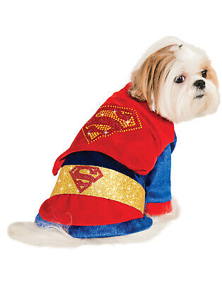 Dc Comics Cuddly Velour Superman Pet Dog Cat Halloween Costume