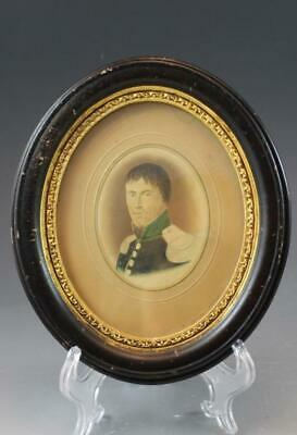 Pair 19C Miniature Portrait Painting of an Officer Gentleman Wood Frame