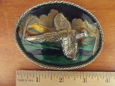 Great American Belt Buckle Pheasant  Enamel And Brass