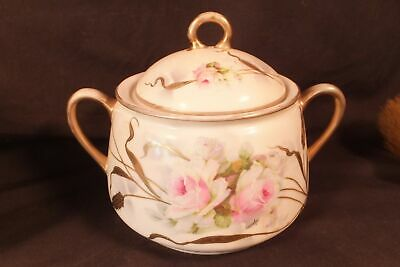 """Rare Donroth Hand Painted Studios Germany Biscuit Jar 6"""" Lush Roses & Heavy Gilt"""