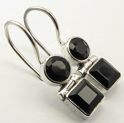 "925 Silver Genuine BLACK ONYX Earrings 1"" SEMI PRECIOUS GEMSTONE"