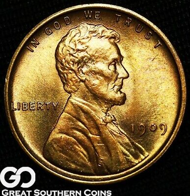 1909 VDB Lincoln Cent Wheat Penny, PQ RED, Sharp Solid Gem BU++ RD Better Date!
