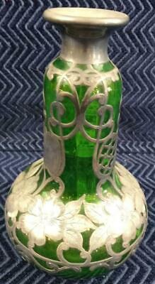 "Vintage Green Vase with Sterling Silver Overlay-6.75"" Tall"