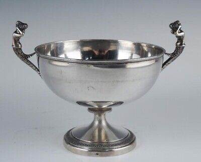 Antique 19c French 800 Silver Figural Mermaid Double Handle Footed Bowl