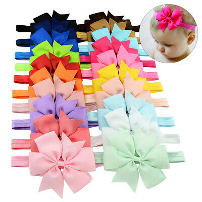 20Pcs Girl Headband lot Newborn Baby Toddler Infant Bows Ribbon Hair Bands Gift