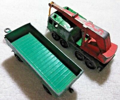 Matchbox 8 Wheel Crane Truck Lesney No. 30 and Mercedes Trailer Made In England