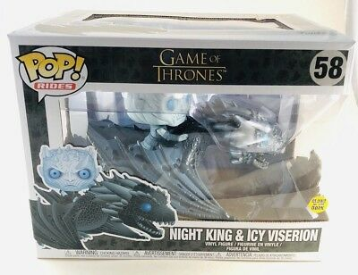 Funko Pop Night King & Icy Viserion Game of Thrones Dragon Wight Rides GITD NIB