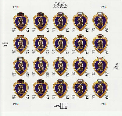 Military Purple Heart Medal Stamp Sheet -- Usa #4264 42 Cent2008 Military