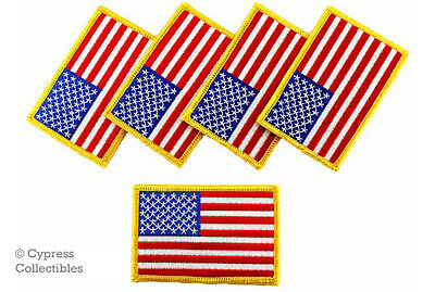 LOT OF 5 AMERICAN FLAG EMBROIDERED PATCH United States - GOLD BORDER applique