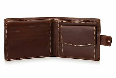 Mens Luxury Soft Brown Leather Bifold Wallet Credit Card Holder/Purse