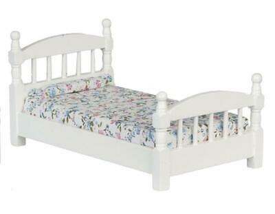 e05c102f114e Melody Jane Dolls House White Wooden Single Bed Miniature Bedroom Furniture