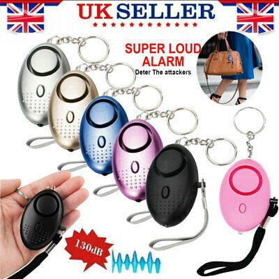 Personal Panic Rape Alarm Keyring Loud Sound Safety Security Attack Light 130DB