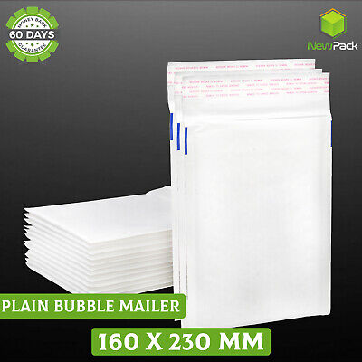 Bubble Mailer #01 160x230mm Plain Blank Padded Kraft Bag Envelope 25 / 100/ 200