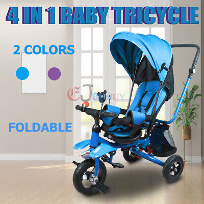 Baby Stroller Foldable 4 in1 Pram Ride on Trike Toddler Tricycle Bike Pushchair