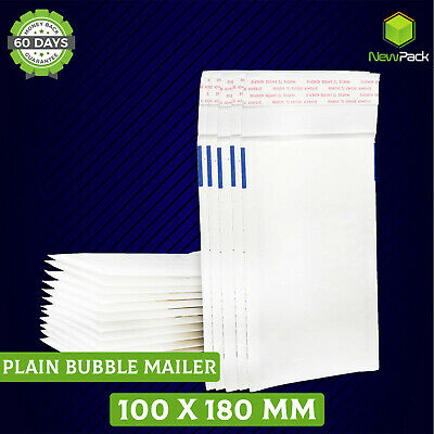 Bubble Envelope #0 100mm x 180mm Plain BLANK  White Padded Bag Mailer 200x