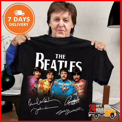 The Beatles T Shirt All Members Signatures Shirt Black Cotton Tee New Full Size