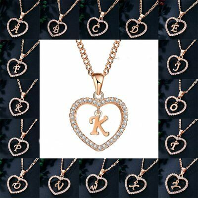 Fashion Initial 26 Letters A-Z Alphabet Heart Crystal Pendant Necklace Jewellery