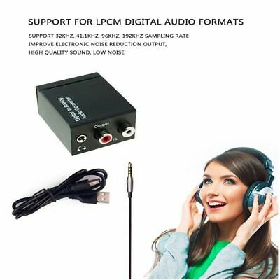 With Fiber Cable Digital Optical Coax to Analog- RCA L/R Audio Converter Adapter