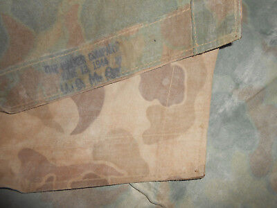 U.S.ARMY : U.S.M.C. Reversible Camouflage Poncho Dated  1944 Shelter Half Tent ,