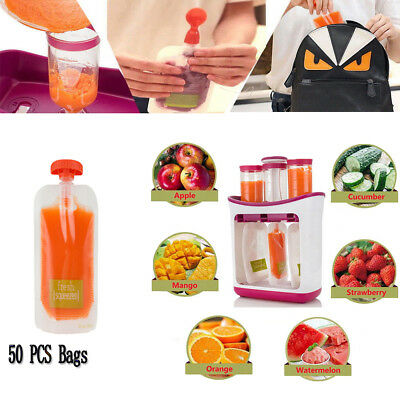 Baby Feeding Food Squeeze Station Toddler Infant Fruit Maker Dispenser Storage@2