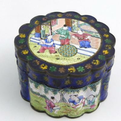 19Th Century Chinese Canton Enamel Shaped Circular Box And Cover