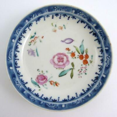 18th CENTURY CHINESE FAMILLE ROSE EXPORT WARE PORCELAIN SAUCER, QIANLONG PERIOD