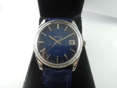 1970 BENRUS JUNGLE MASTER  Date MAN Steel Blue Dial Automatic 25J Vintage Watch
