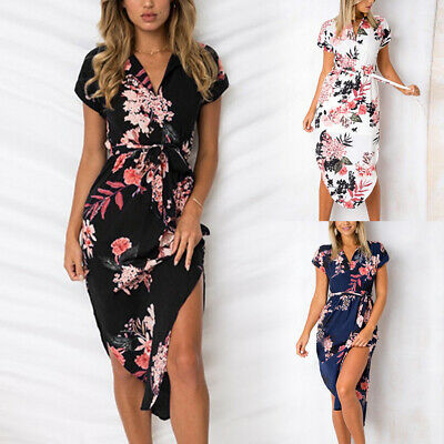 Women Boho Floral Long Maxi Dress Party Evening Summer Beach Holiday Sundress