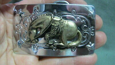 Vintage Bright Silver Tone & Brass Bucking Bronco Belt Buckle