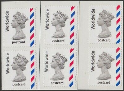 Great Britain Stamps for Postage - 6 x WW Postcard Self-adhesive Mint Stamps