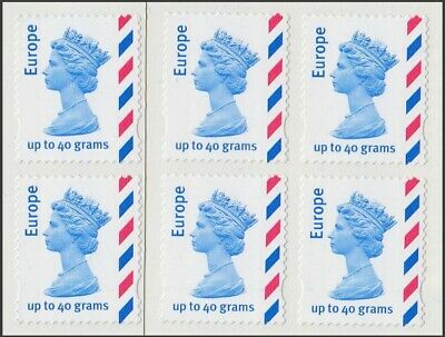 Great Britain Stamps for Postage - 6 x Europe 40g Self-adhesive Mint Stamps