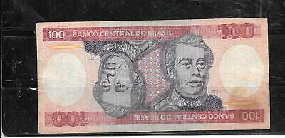 BRAZIL #198b 1984 VERY GOOD CIRC 100 CRUZEIROS OLD BANKNOTE PAPER MONEY NOTE