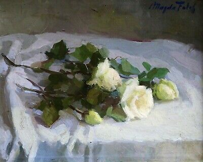 Magda Folch Sole (1903-1981) Signed Spanish Impressionist Oil Flowers Table