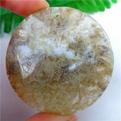 Charming Unique Natural Green Moss Agate Round Pendant Bead 55x9mm AU36593