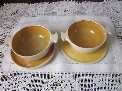 Two Dyson Pottery Soup Coupes With Underplates