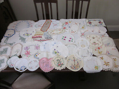 40 Vintage Hand Embroidered Doilies  ~ For Craft Sewing Or To Use